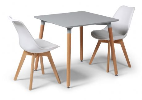 Toulouse Tulip Eiffel Designer Dining Set Grey Square Table & 2 White Chairs Sale Now On Your Price Furniture